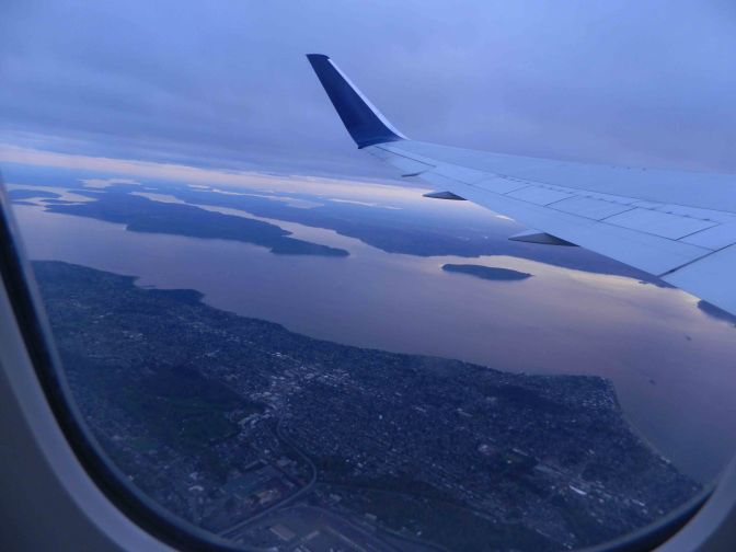 View of West Seattle and Vashon from airplane.