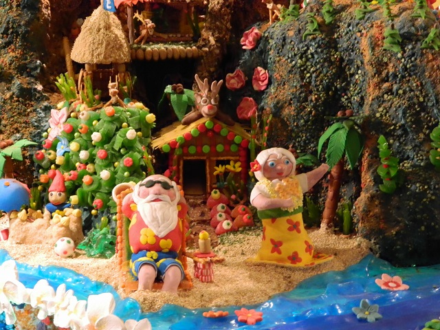 Santa and Mrs Claus on the beach, detail on the Mele Kalikimaka Gingerbread village, in Seattle 2014.