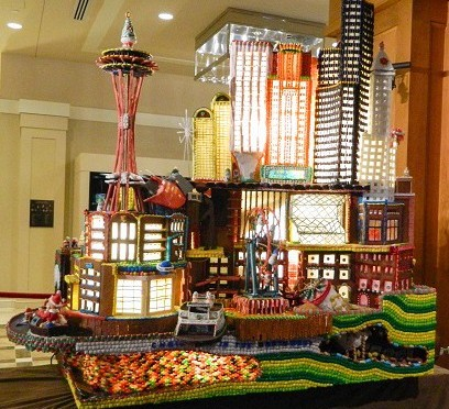 Seattle gingerbread village, complete with ferry, ferris wheel, underground Seattle, Space Needle, Columbia Center, Smith Tower,,,2014 Holiday Season, Seattle