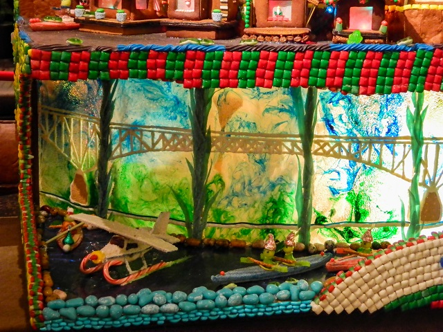 Lake Union detail close up of the sea plane and kayakers in the Seattle Gingerbread village, 2014 Holiday Season.