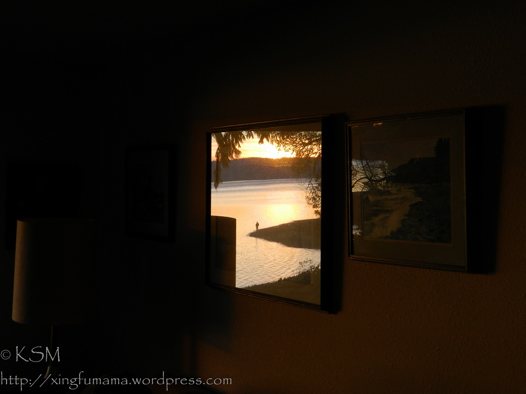 Reflection of sunset through a picture window.