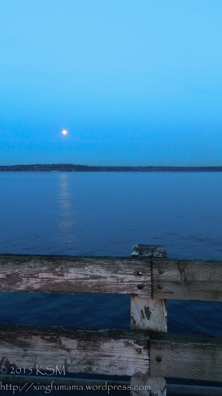 Full moon over Puget Sound