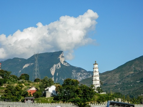 Cloud and rock mountain from White Emperor City on the Yangze.