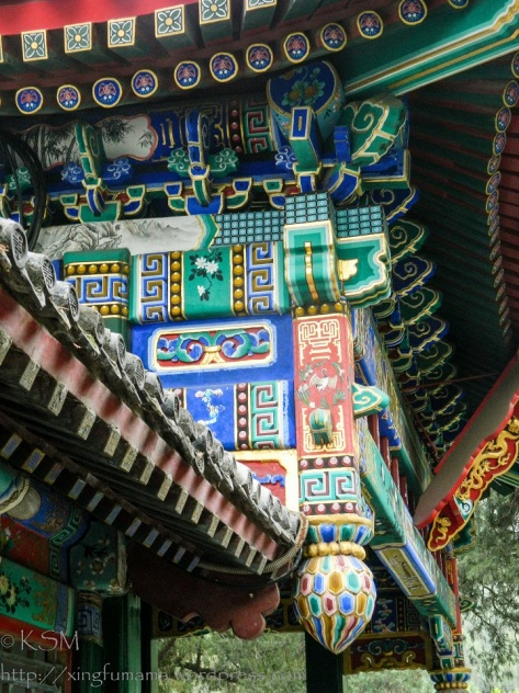 Detail of paintings on supports for a roof at the Summer Palace.