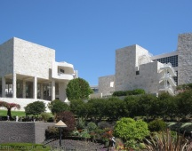 "Gleaming white walls of ""The Getty"" in LA."