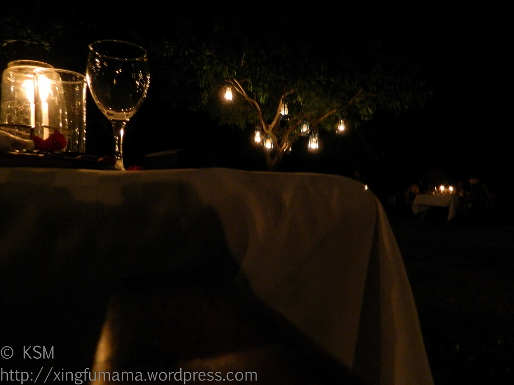 Gleaming Valentine's Day table at Kichwa Tembo Camp in Masai Mara National Park, Kenya.