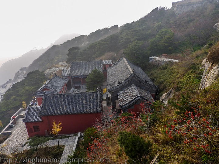 Tai Shan summit: View of Confucius Temple from Shenqi Hotel entrance.