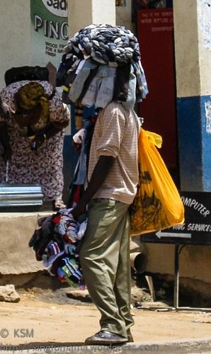 Sock vendor in Kitui, Kenya