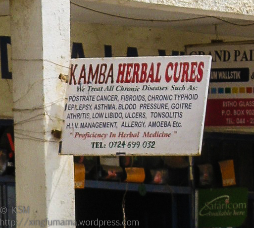 Sign advertising Kamba Herbal Cures
