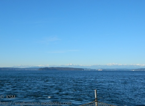 Cold, clear winter day ferry ride. View of Blake Island.