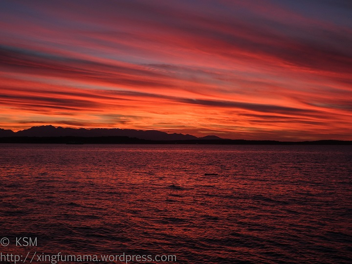 Sunset from Alki Point in Seattle.