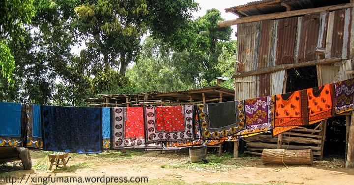 Khanga (aka lesos) drying on a line in Kenya.