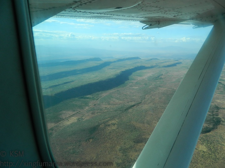 Escarpments in Kenya from the air.