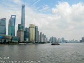 In Shanghai the river is a major component of transportation, and life. View of Pudong from the Huangpu river.