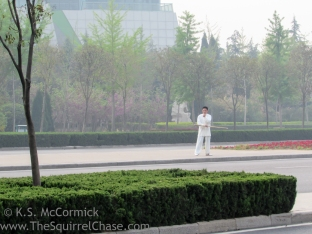 Martial artist practicing on the median of an 8 lane road..