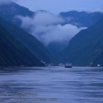 Entering the Wu Gorge from the east (going up river) during the blue hour.