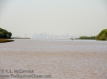 Distant view of Buenos Aires from the Parana Delta.