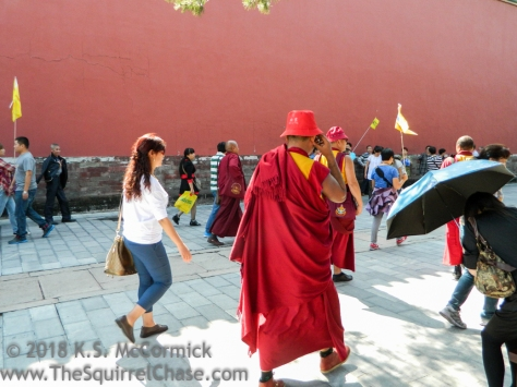 Tourists at the Forbidden City in Beijing, China.