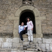My son and I emerging from the watch tower to start our hike along the great wall.
