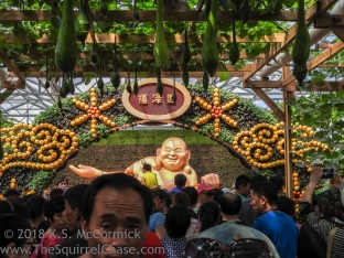 Peeking over heads to see Buddha at the Shouguang Vegetable expo.
