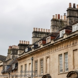 Roof dormers and chimney pots, Bath.