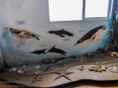 Mural with skeletons of sealife.