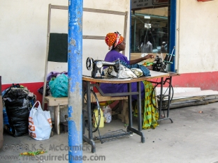 Seamstress in Kitui market town.