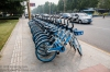 Row of rental bikes.