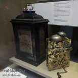An antique clock and its inner workings at the British Museum.