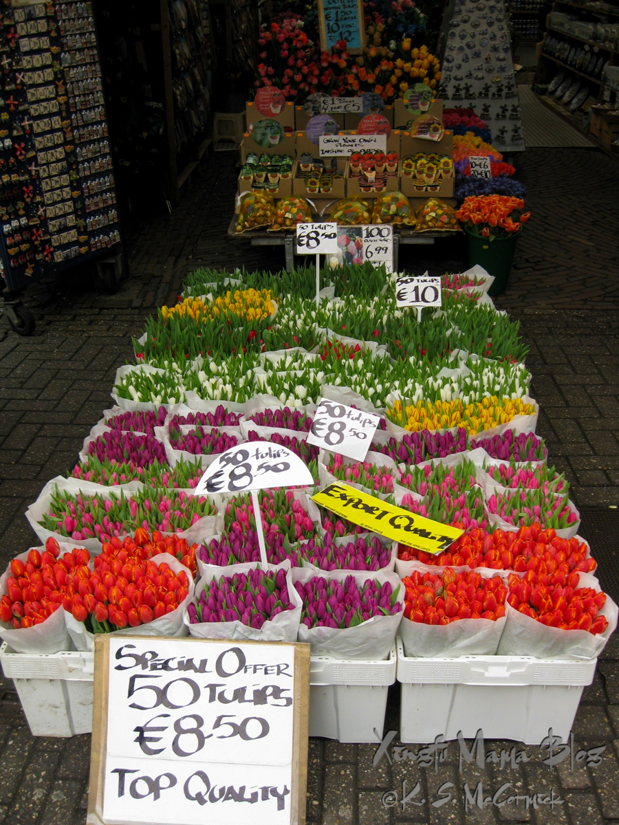Tulips for sale at the flower market in Amsterdam.