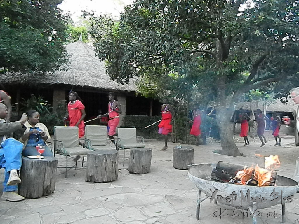 Outdoor seating to sit and relax after bouncing about on the wildlife drives. Masai who ive nearby were demonstrating dances.