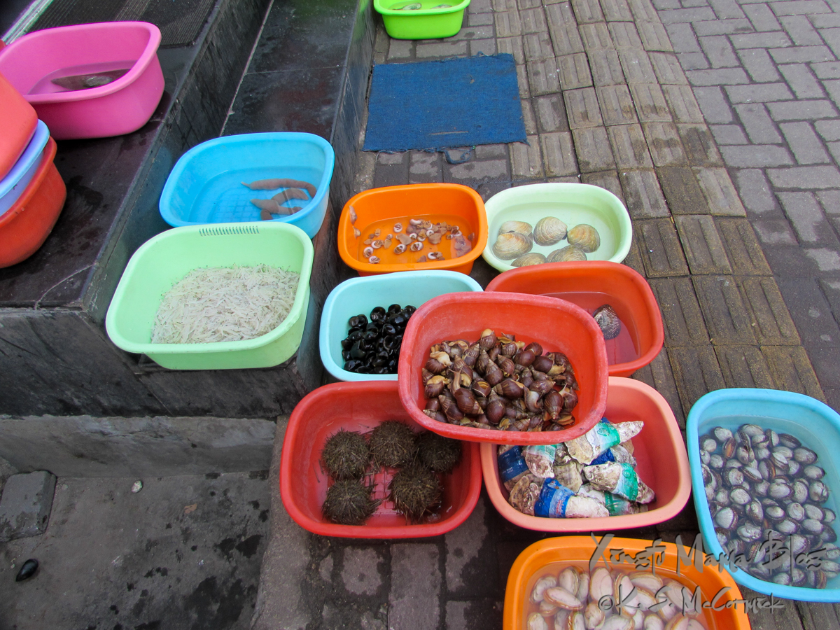 Seafood waiting to be cooked in bright colored dishpans on a sidewalk in Qingdao, China.