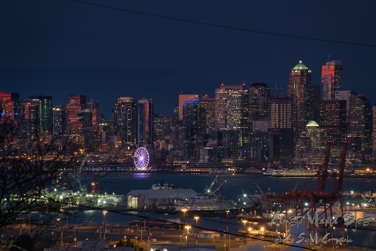 Early evening cityscape of Seattle as the lights start to turn on.
