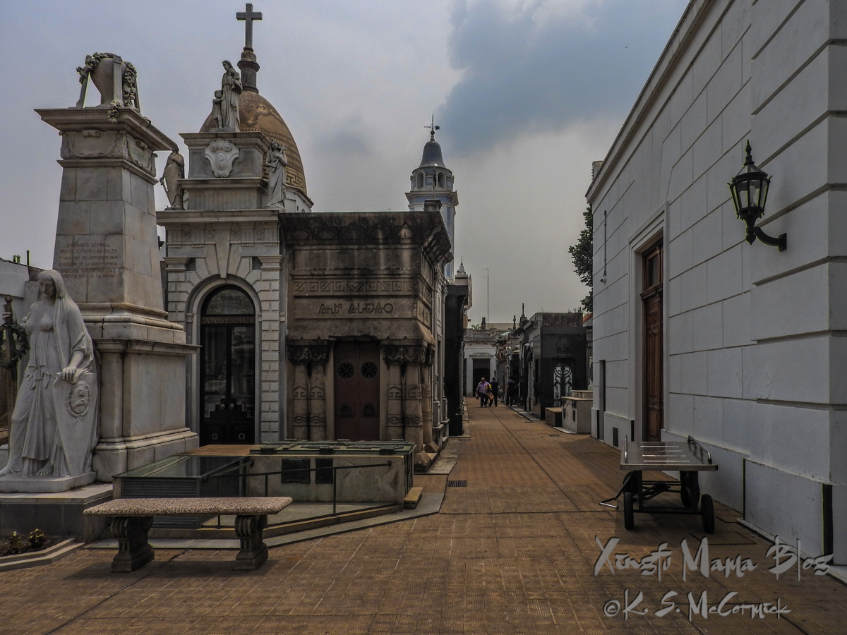 Bench in front of mausoleums at Recoleta Cemetery in Buenos Aires.