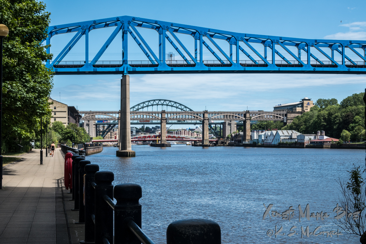 At least five different types of bridges crossing the Tyne RIver in Newcastle-on-Tyne.