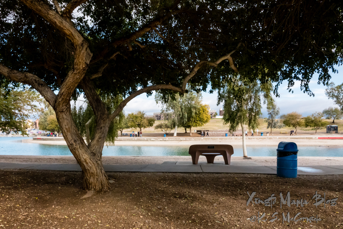 Concrete bench facing the channel between the main land and the island in lake Havasu.