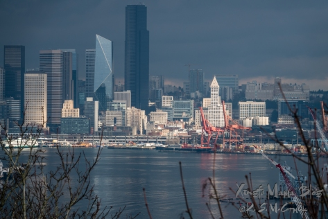 Seattle skyline, seen from across Elliott Bay in West Seattle. The Smith Tower is prominent against the gray skies and modern buildings because of a passing sun beam.