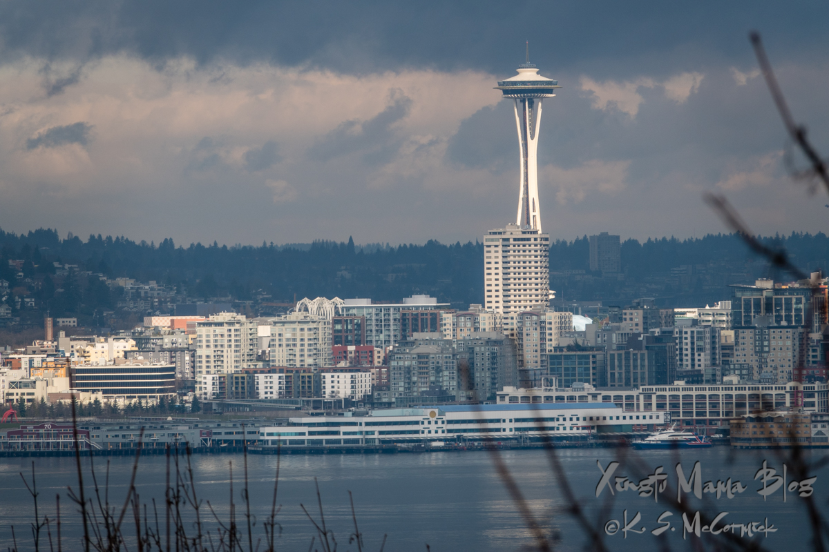 Seattle Space Needle against a dark gray sky, highlighted by a fast moving sunbeam.
