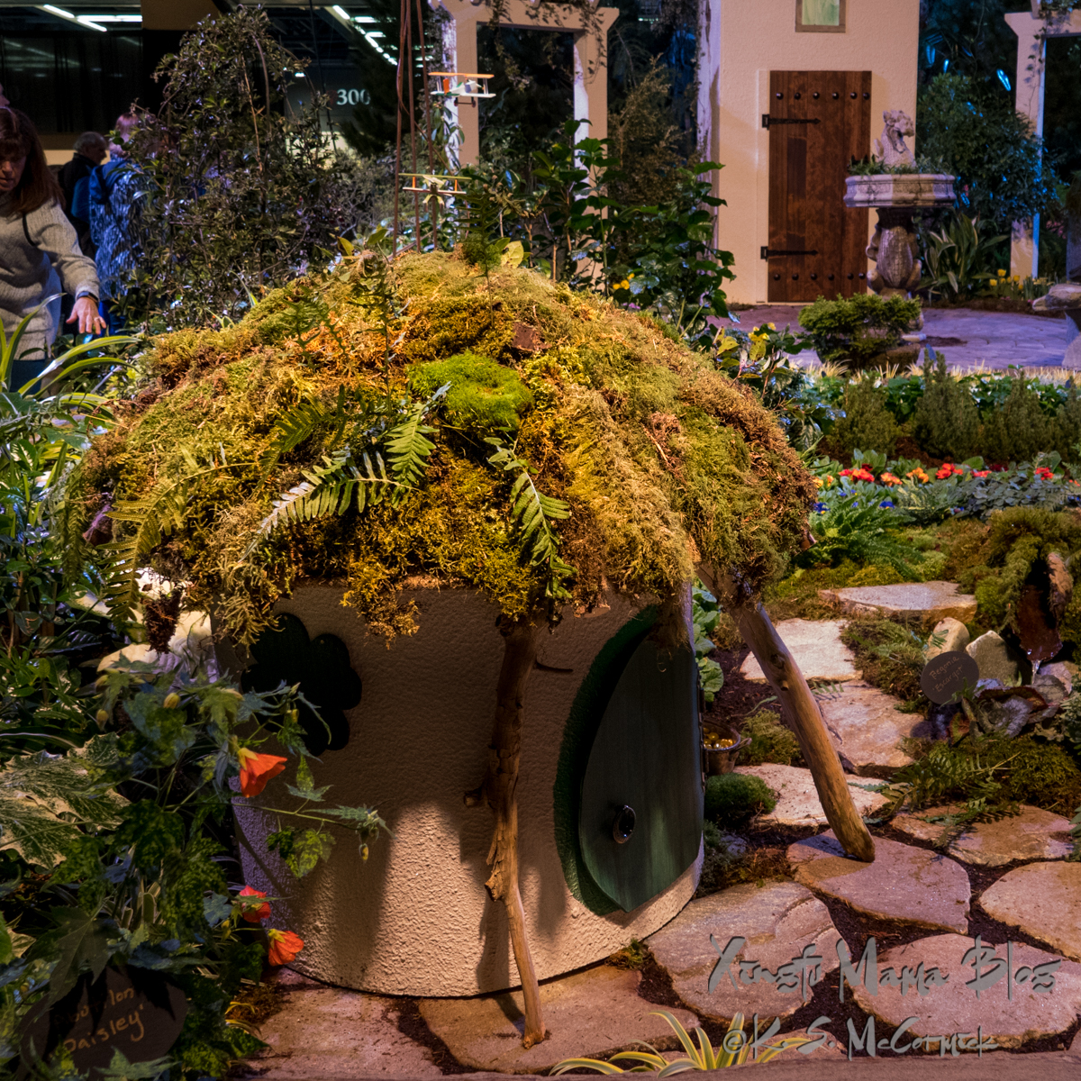 Mini house in the Celtic Garden at the Northwest Flower and Garden Festival.