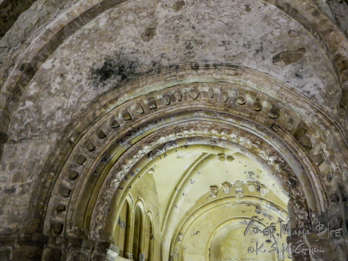 Decorated arches of Cormac's Chapel at the Rock of Cashel in Ireland.