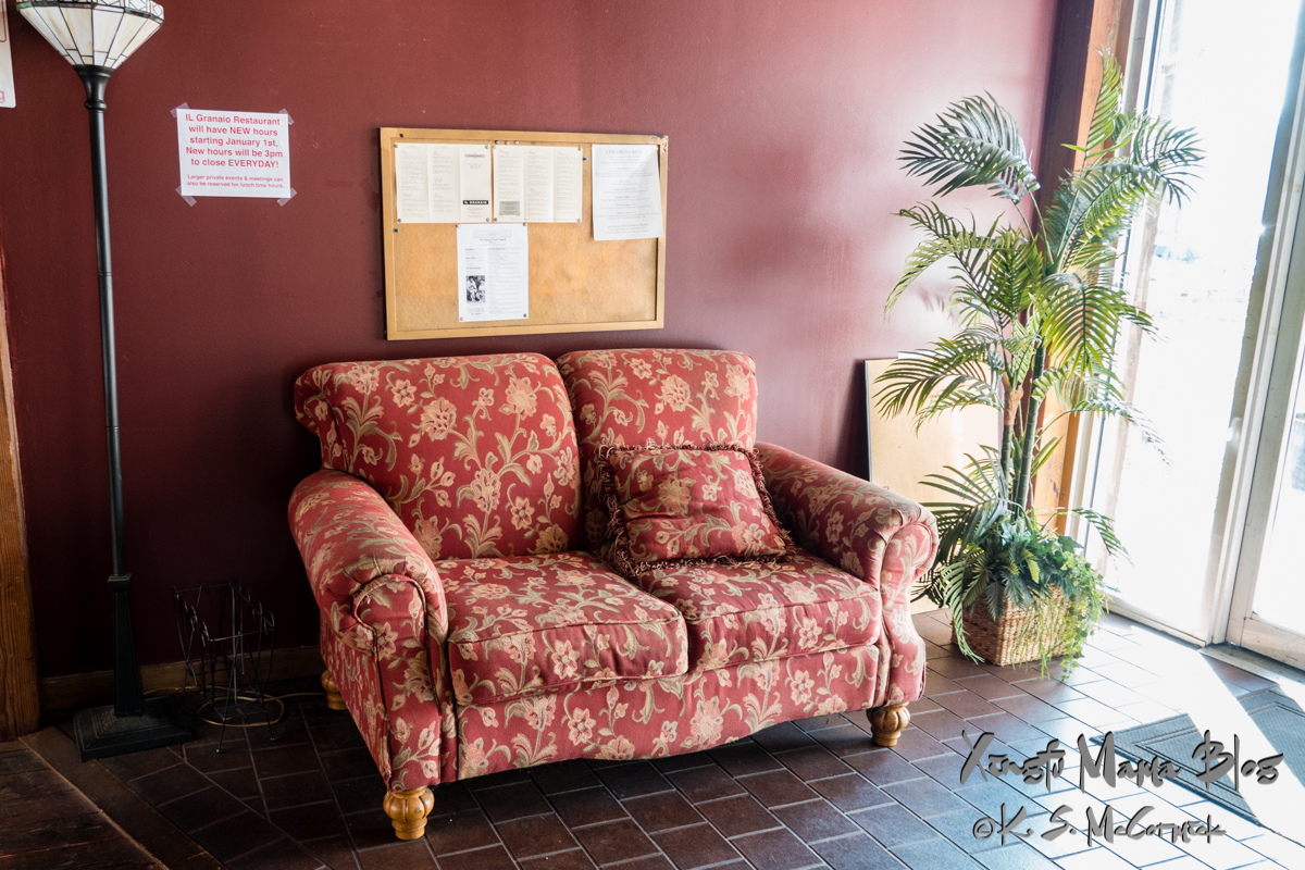 Love seat in the entry area of the old grainery building in Mount Vernon, Washington State.