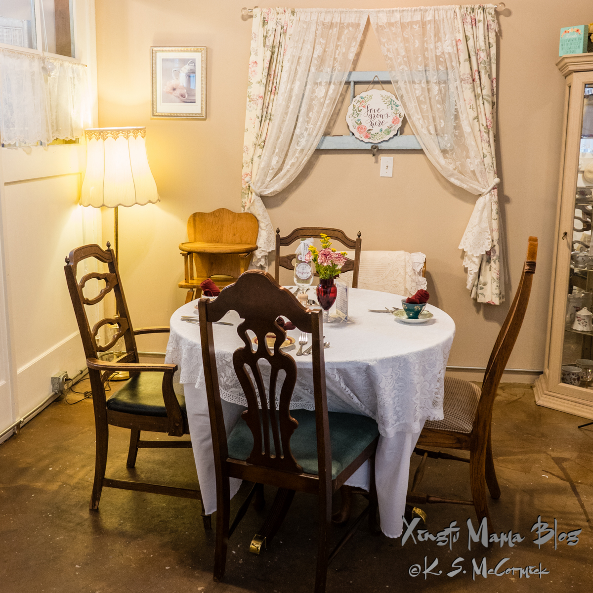 Table and chairs set for tea in a private room at the Tea Rooms at the Grainery building in Mount Vernon.