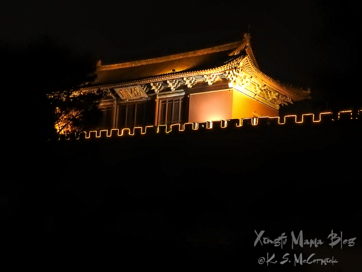 Dai Miao Temple south gate is lit up at night