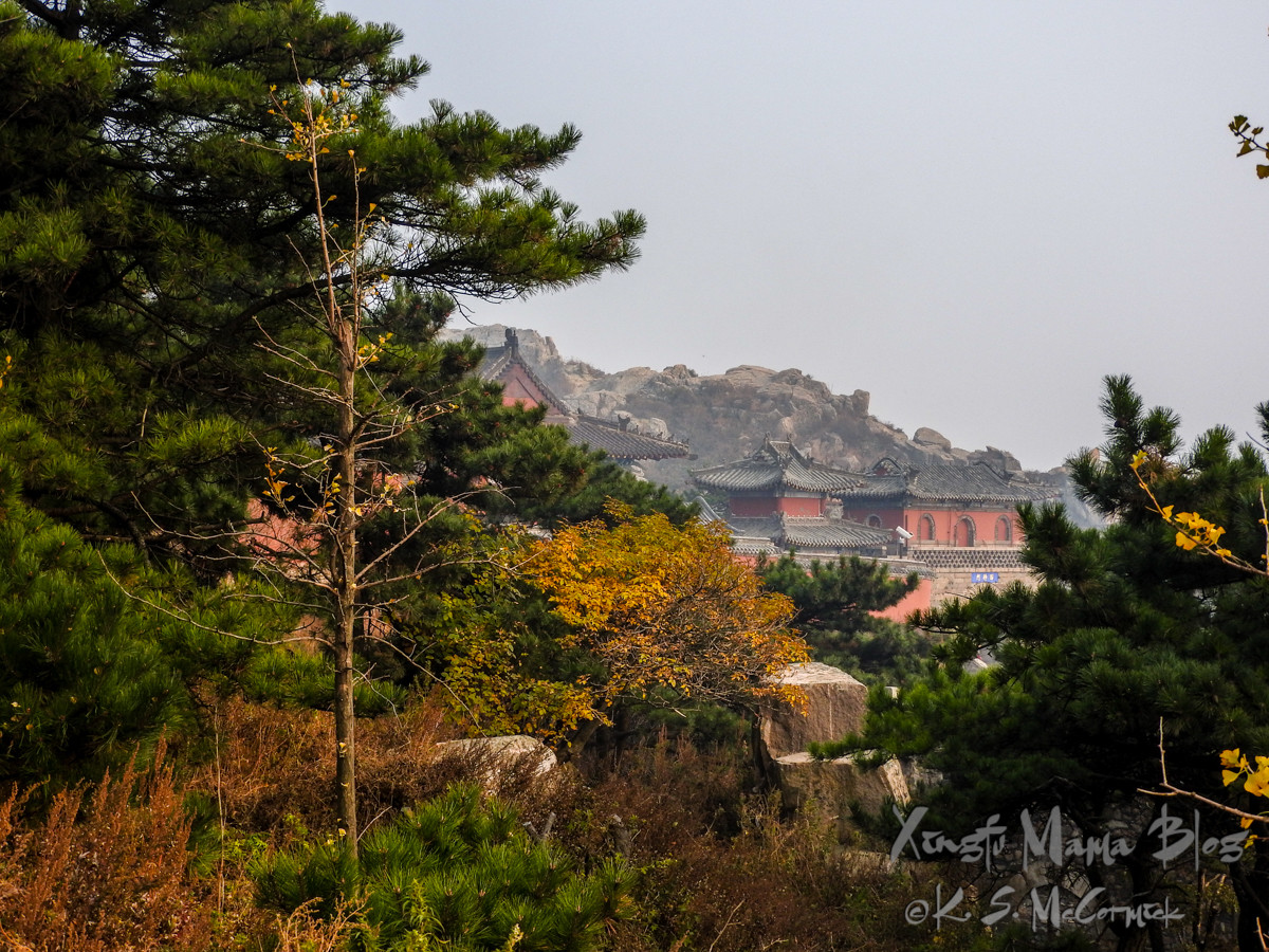 View of the peak and temple complex at the top of Mount Tai (aka Taishan) in Shandong Province, China.