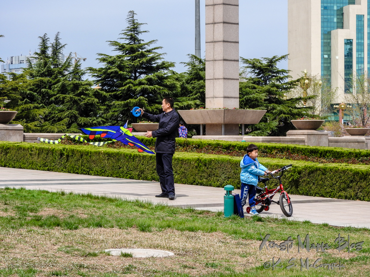 Man preparing to fly a kite and boy about to mount a bike with training wheels.
