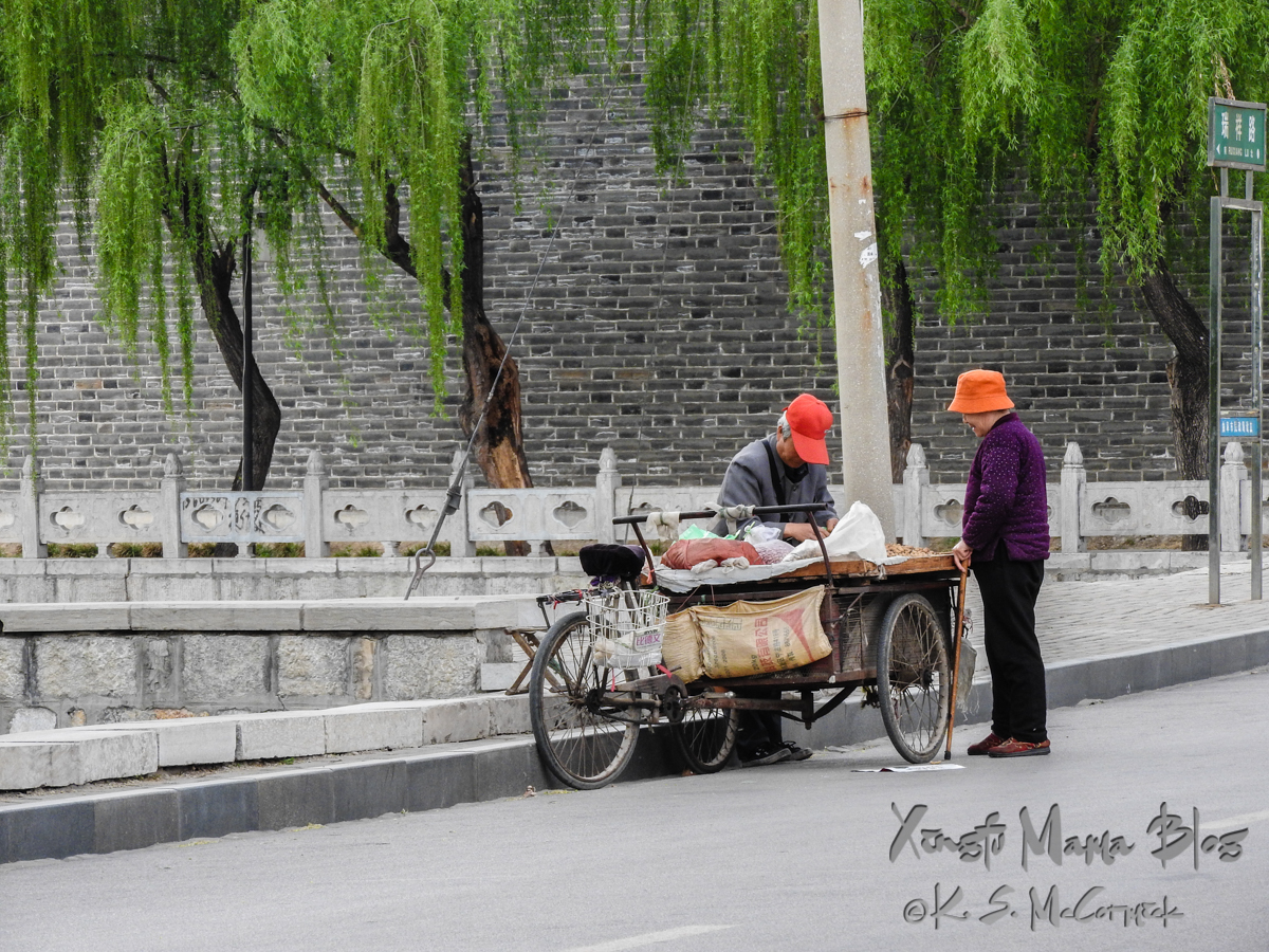 Vendor in a red baseball cap and buyer in an orange bucket cap, beside a tricycle truck with weeping willows, Qufu, Shandong Province, China on a quiet afternoon.