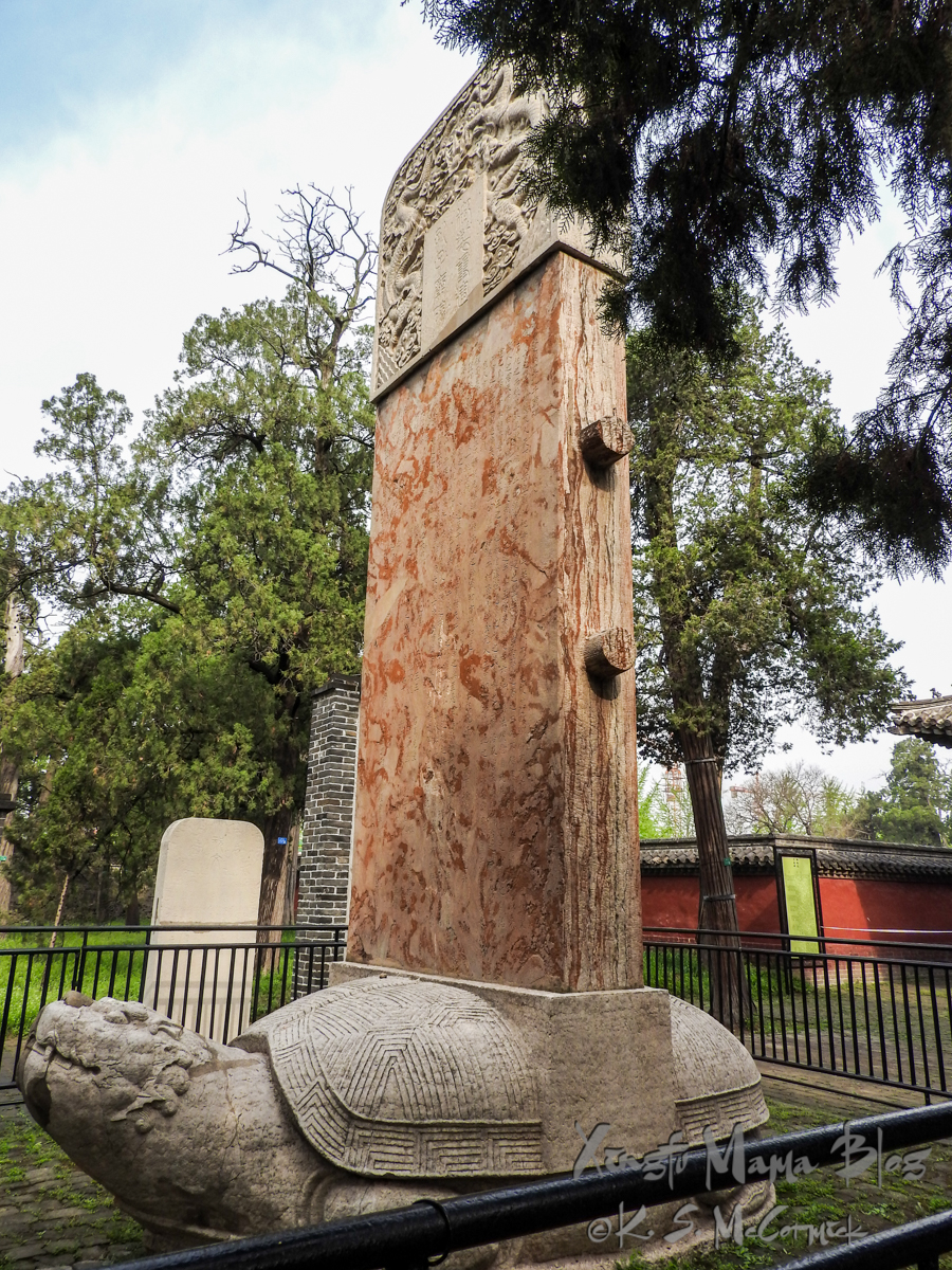 Bixi, stone tortoise, with stele on its back, at Kong Miao (Confucius Temple) in Qufu, Shandong Province, China.