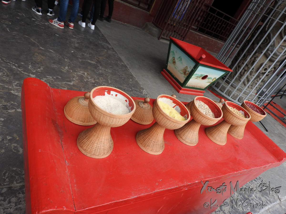 Terracotta vessels with offerings of different types of grains, at Kong Miao (Confucius Temple) in Qufu, Shandong Province, China.