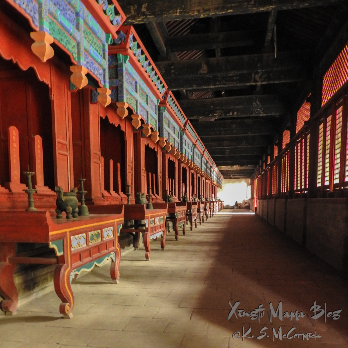 Long row of altars with Confucius's teachings at Kong Miao (Confucius Temple) in Qufu, Shandong Province, China.