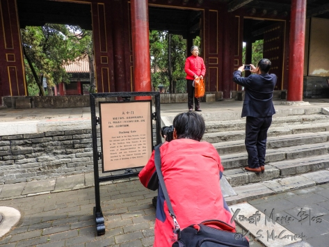 Taking pictures at the Confucius Temple in Qufu, China.